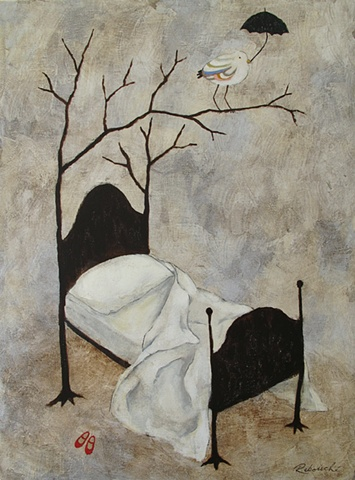 Bed with branches. R. Rebouche