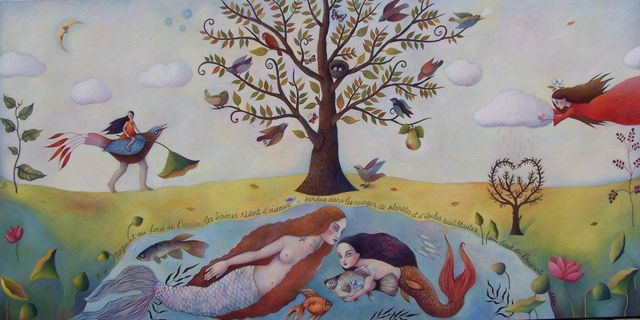 "The Mermaid Garden 48""x90"""