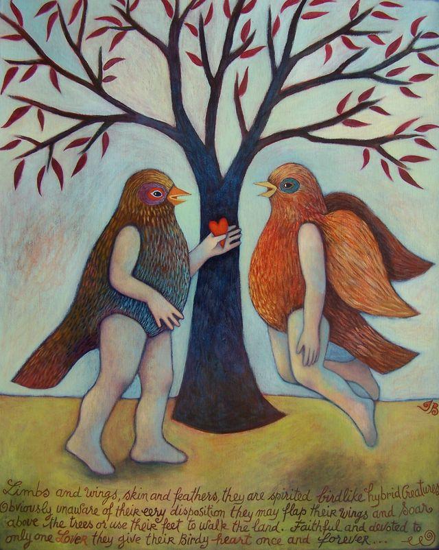 """Birdy Heart 16""""x20"""""""