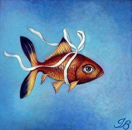 "Fish in a Ribbon 8""x8"""