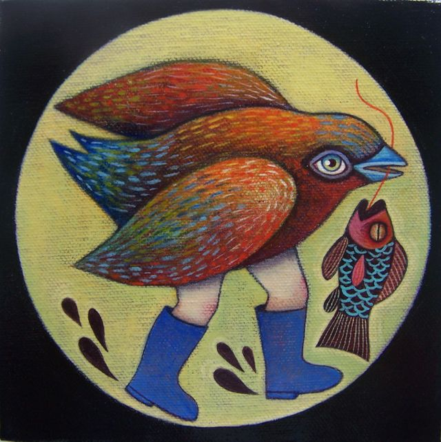 "Fishing Bird 6""x6"""