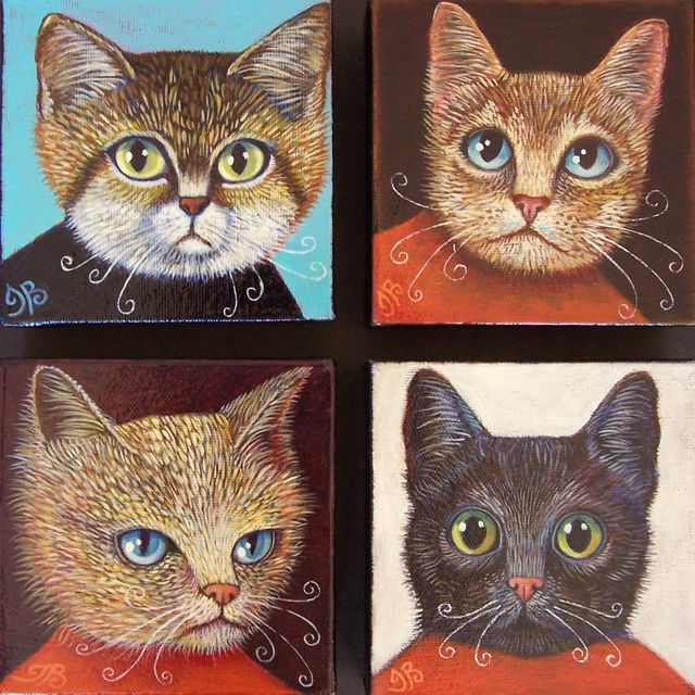 "Les Chats 5""x5"" each"