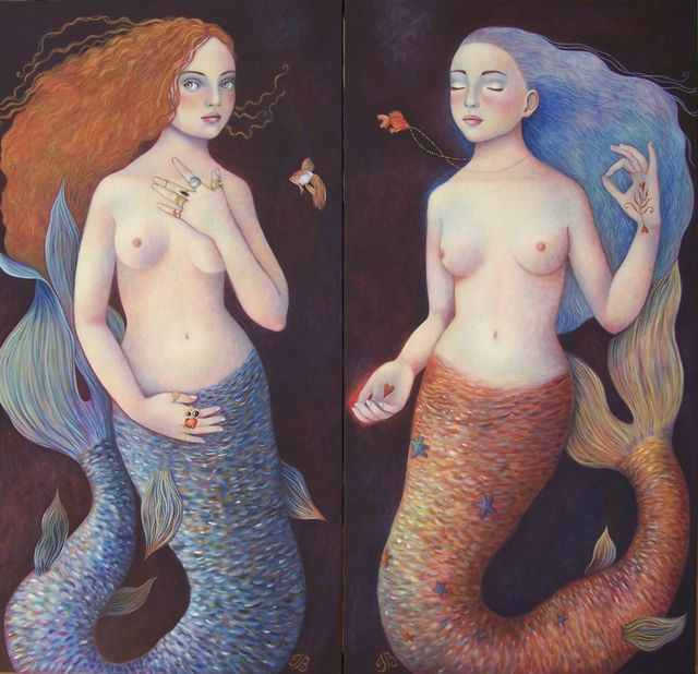 "Mermaid Sisters 24""x48"" each"