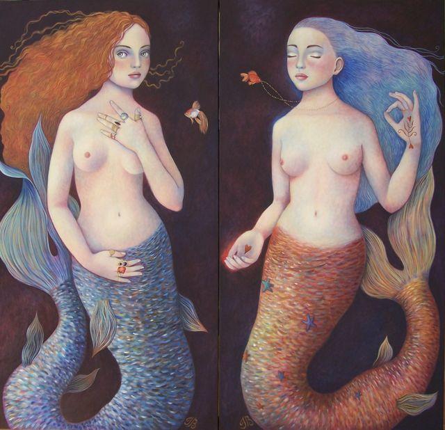 """Mermaid Sisters 24""""x48"""" each"""